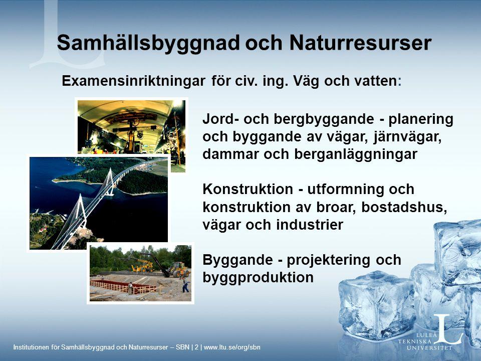 Institutionen för Samhällsbyggnad och Naturresurser – SBN | 3 | www.ltu.se/org/sbn Samhällsbyggnad och Naturresurser Praktik 7 månader - Arkitektur, Väg och vatten: Beställarpraktik Konsultpraktik Entreprenörspraktik