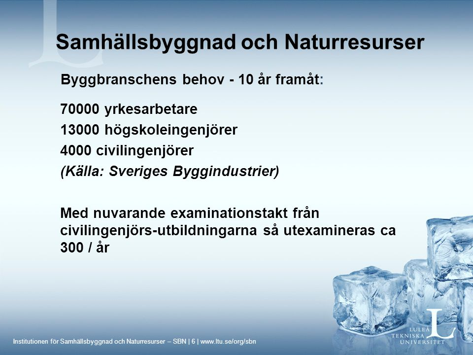 Institutionen för Samhällsbyggnad och Naturresurser – SBN | 7 | www.ltu.se/org/sbn Studiebesök