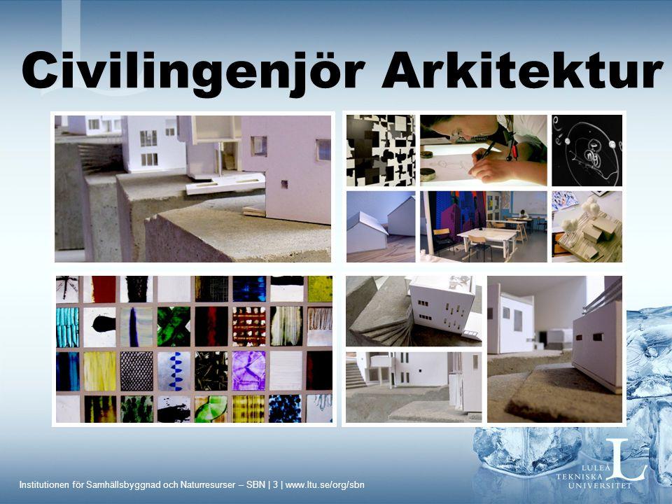 Institutionen för Samhällsbyggnad och Naturresurser – SBN | 3 | www.ltu.se/org/sbn Civilingenjör Arkitektur