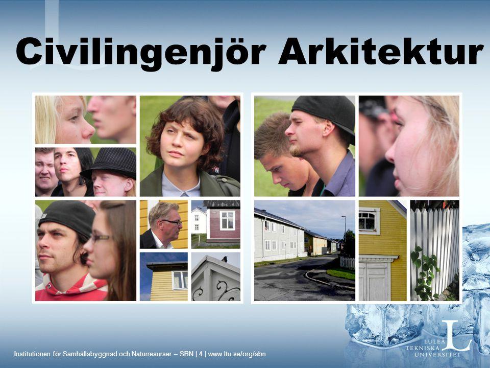 Institutionen för Samhällsbyggnad och Naturresurser – SBN | 4 | www.ltu.se/org/sbn Civilingenjör Arkitektur