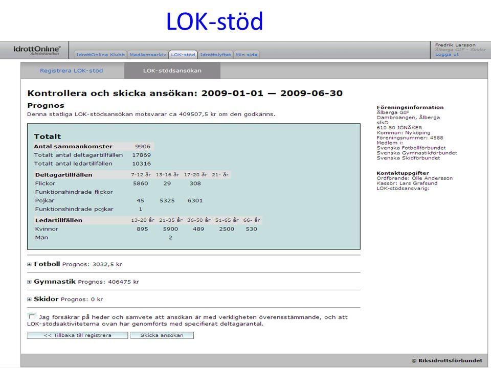 LOK-redovisning för alla augusti 2009 Hur ansöker vår förening LOK-stöd för aktiviteter som bedrivs under våren 2009 (1 januari-30 juni) med ansökan senast 15 augusti 2009 Enligt beslut av Riksidrottsstyrelsen den 17-18 juni 2008 ska alla föreningar ansöka om LOK-stödet digitalt för aktiviteter bedrivna under våren 2009 (1 januari-30 juni, vilket redovisas den 15 augusti 2009).