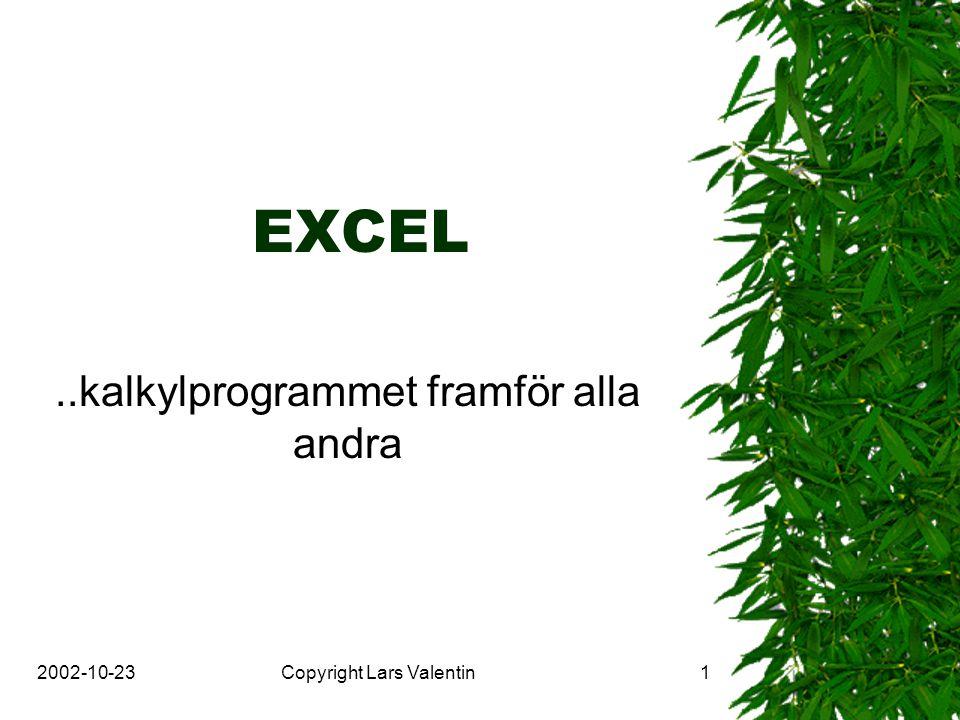2002-10-23Copyright Lars Valentin2 EXCEL användning  Beräkningar (summa, differens, kvot..)  Diagram (stapel, paj …)  Register (kort-, databas…)