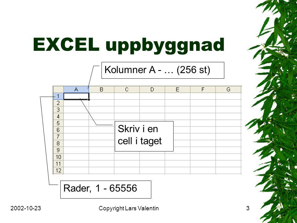 2002-10-23Copyright Lars Valentin3 EXCEL uppbyggnad Kolumner A - … (256 st) Rader, 1 - 65556 Skriv i en cell i taget
