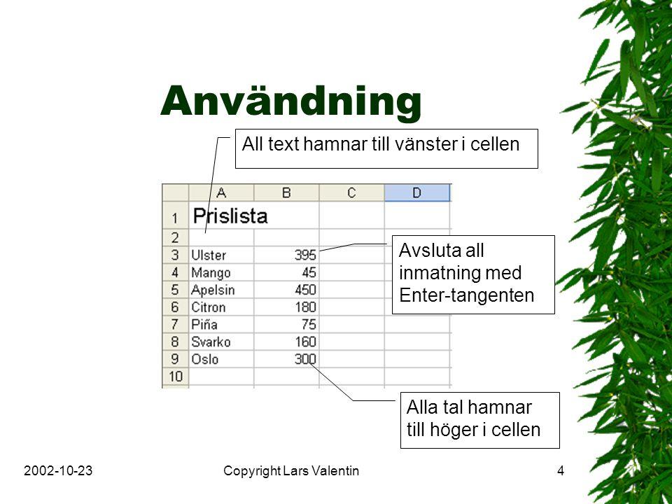 2002-10-23Copyright Lars Valentin4 Användning All text hamnar till vänster i cellen Alla tal hamnar till höger i cellen Avsluta all inmatning med Enter-tangenten