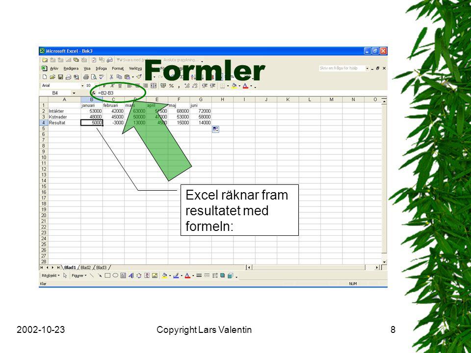 2002-10-23Copyright Lars Valentin9 Menyrad, jmf Word Verktygsfältet Standard Verktygsfältet Formatering Verktygsfältet Rita Statusfält Flikar eller blad Cell-indikator
