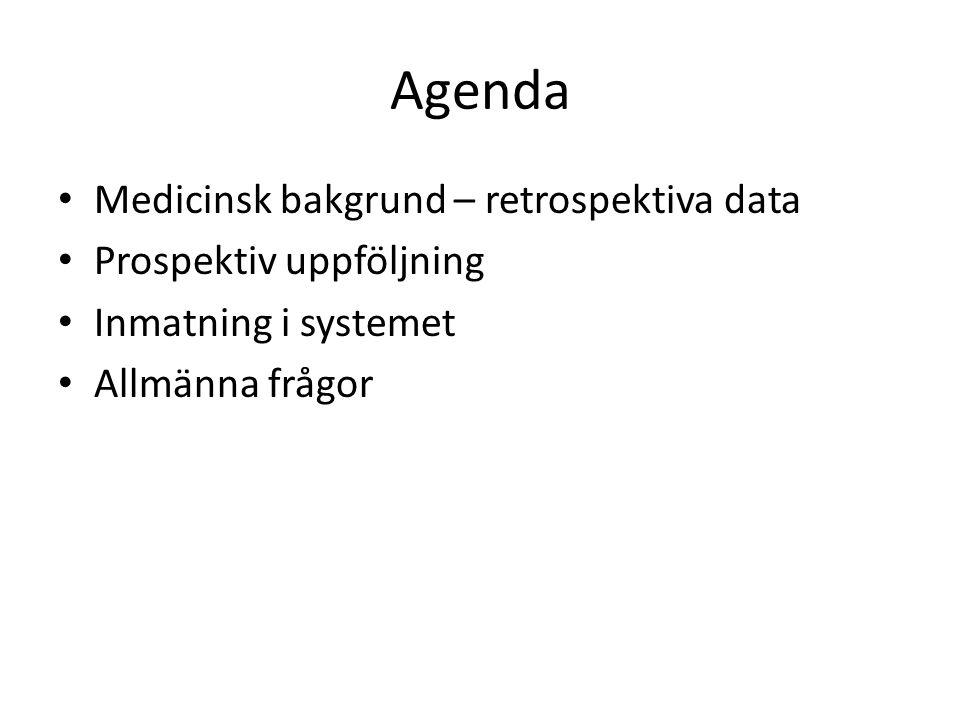 Agenda Medicinsk bakgrund – retrospektiva data Prospektiv uppföljning Inmatning i systemet Allmänna frågor