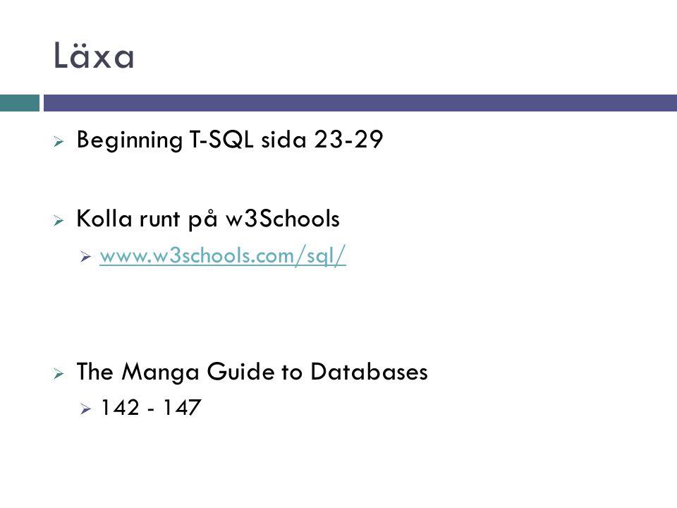 Läxa  Beginning T-SQL sida 23-29  Kolla runt på w3Schools  www.w3schools.com/sql/ www.w3schools.com/sql/  The Manga Guide to Databases  142 - 147