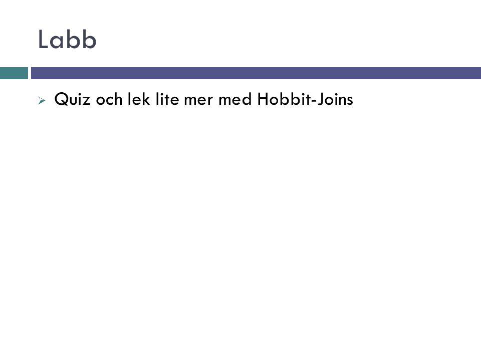 Labb  Quiz och lek lite mer med Hobbit-Joins