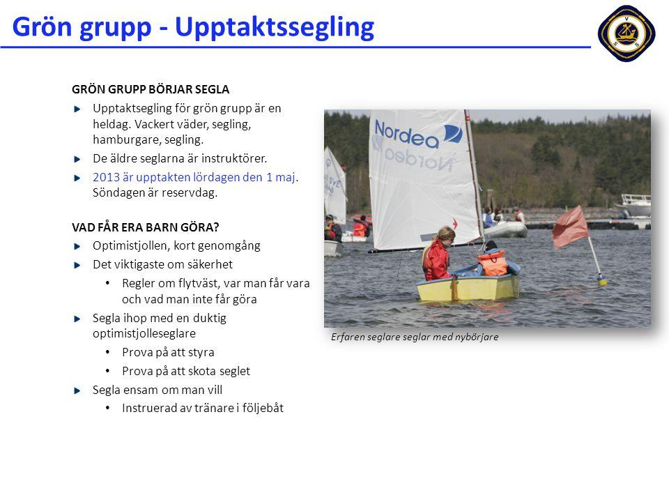 Grön grupp - Upptaktssegling GRÖN GRUPP BÖRJAR SEGLA Upptaktsegling för grön grupp är en heldag. Vackert väder, segling, hamburgare, segling. De äldre