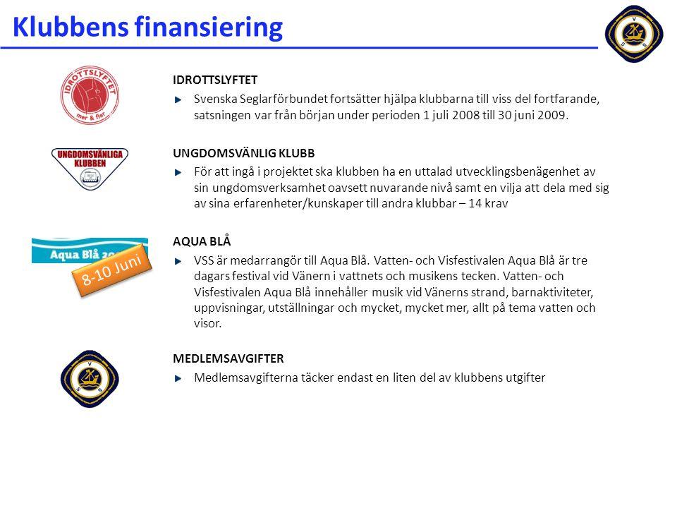 Klubbens finansiering IDROTTSLYFTET Svenska Seglarförbundet fortsätter hjälpa klubbarna till viss del fortfarande, satsningen var från början under pe