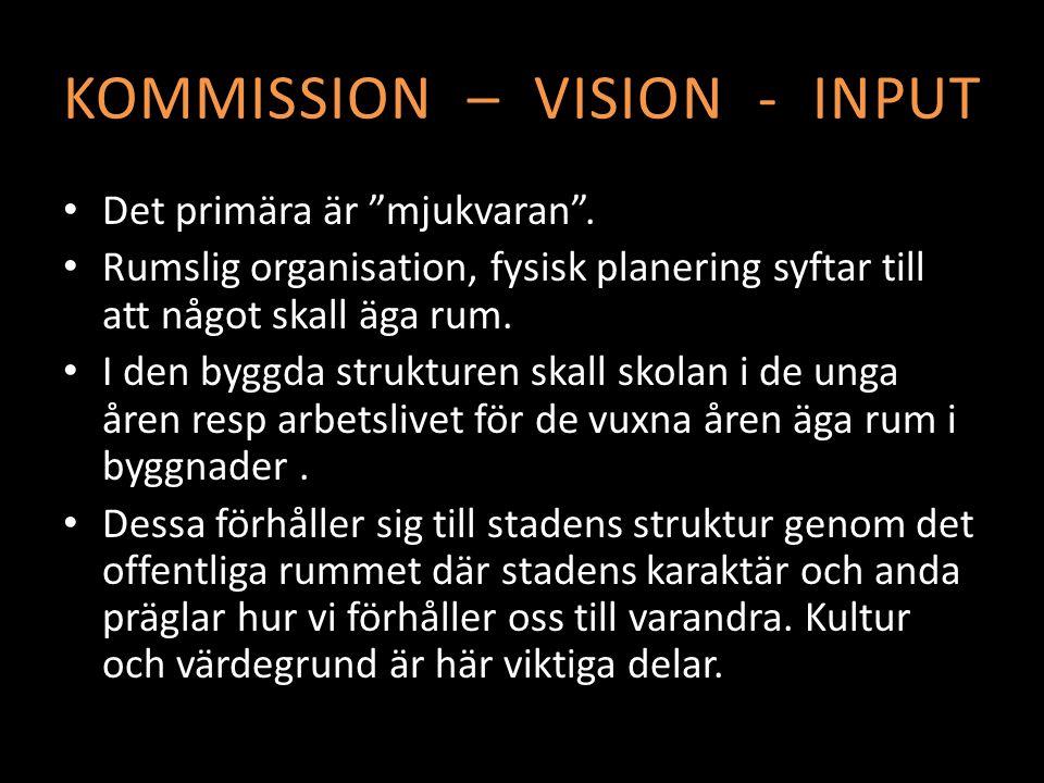 KOMMISSION – VISION - INPUT Det primära är mjukvaran .