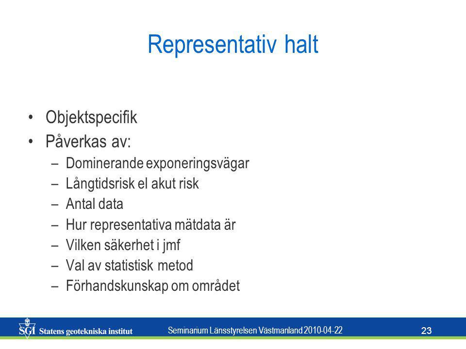 Seminarium Länsstyrelsen Västmanland 2010-04-22 23 Representativ halt Objektspecifik Påverkas av: –Dominerande exponeringsvägar –Långtidsrisk el akut