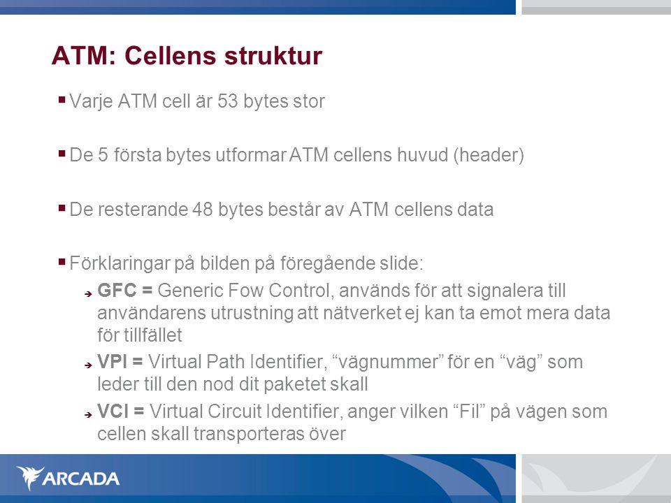  Varje ATM cell är 53 bytes stor  De 5 första bytes utformar ATM cellens huvud (header)  De resterande 48 bytes består av ATM cellens data  Förklaringar på bilden på föregående slide:  GFC = Generic Fow Control, används för att signalera till användarens utrustning att nätverket ej kan ta emot mera data för tillfället  VPI = Virtual Path Identifier, vägnummer för en väg som leder till den nod dit paketet skall  VCI = Virtual Circuit Identifier, anger vilken Fil på vägen som cellen skall transporteras över