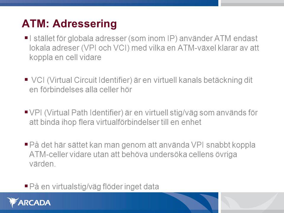 ATM: Adressering  I stället för globala adresser (som inom IP) använder ATM endast lokala adreser (VPI och VCI) med vilka en ATM-växel klarar av att koppla en cell vidare  VCI (Virtual Circuit Identifier) är en virtuell kanals betäckning dit en förbindelses alla celler hör  VPI (Virtual Path Identifier) är en virtuell stig/väg som används för att binda ihop flera virtualförbindelser till en enhet  På det här sättet kan man genom att använda VPI snabbt koppla ATM-celler vidare utan att behöva undersöka cellens övriga värden.