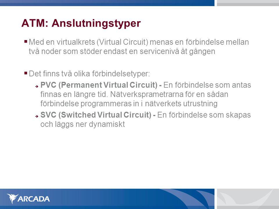 ATM: Anslutningstyper  Med en virtualkrets (Virtual Circuit) menas en förbindelse mellan två noder som stöder endast en servicenivå åt gången  Det f