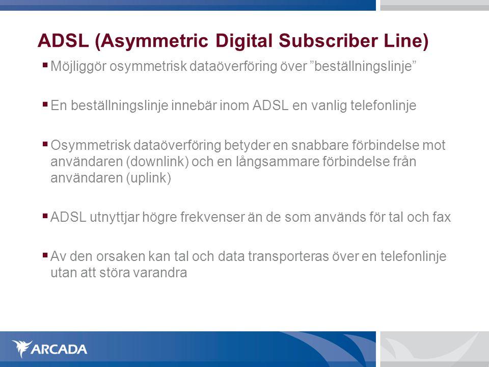 """ADSL (Asymmetric Digital Subscriber Line)  Möjliggör osymmetrisk dataöverföring över """"beställningslinje""""  En beställningslinje innebär inom ADSL en"""