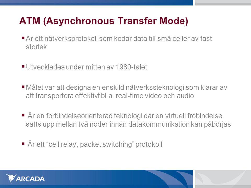 ATM (Asynchronous Transfer Mode)  Är ett nätverksprotokoll som kodar data till små celler av fast storlek  Utvecklades under mitten av 1980-talet  Målet var att designa en enskild nätverkssteknologi som klarar av att transportera effektivt bl.a.