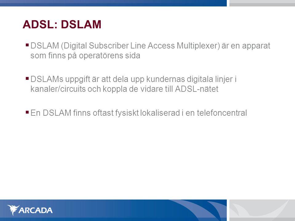 ADSL: DSLAM  DSLAM (Digital Subscriber Line Access Multiplexer) är en apparat som finns på operatörens sida  DSLAMs uppgift är att dela upp kundernas digitala linjer i kanaler/circuits och koppla de vidare till ADSL-nätet  En DSLAM finns oftast fysiskt lokaliserad i en telefoncentral