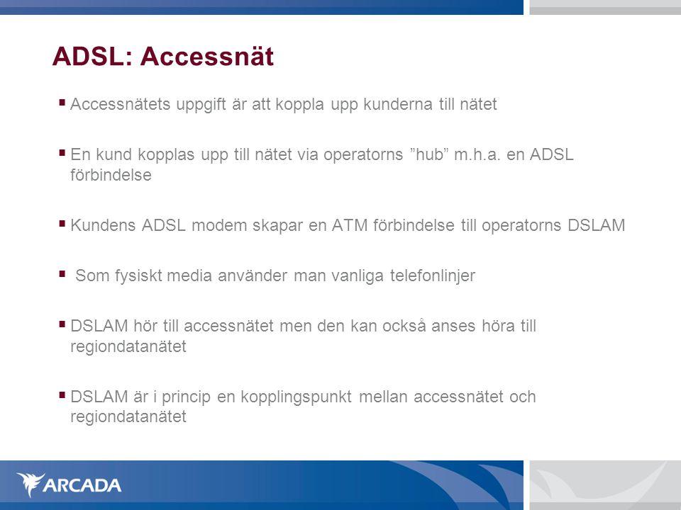 """ADSL: Accessnät  Accessnätets uppgift är att koppla upp kunderna till nätet  En kund kopplas upp till nätet via operatorns """"hub"""" m.h.a. en ADSL förb"""