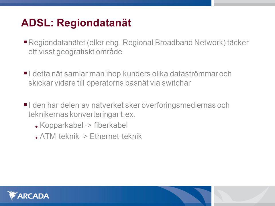 ADSL: Regiondatanät  Regiondatanätet (eller eng.