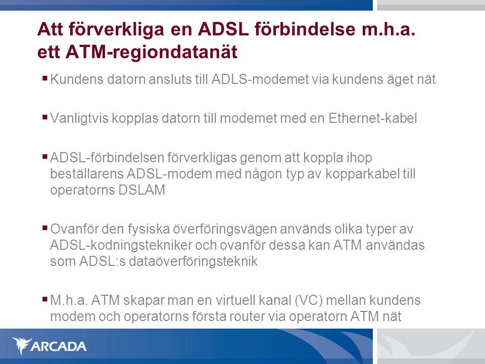 Att förverkliga en ADSL förbindelse m.h.a. ett ATM-regiondatanät  Kundens datorn ansluts till ADLS-modemet via kundens äget nät  Vanligtvis kopplas