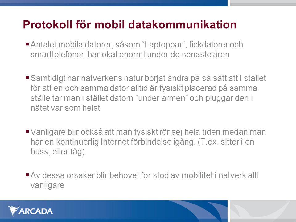 """Protokoll för mobil datakommunikation  Antalet mobila datorer, såsom """"Laptoppar"""", fickdatorer och smarttelefoner, har ökat enormt under de senaste år"""