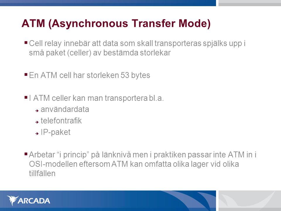 ATM (Asynchronous Transfer Mode)  Cell relay innebär att data som skall transporteras spjälks upp i små paket (celler) av bestämda storlekar  En ATM cell har storleken 53 bytes  I ATM celler kan man transportera bl.a.