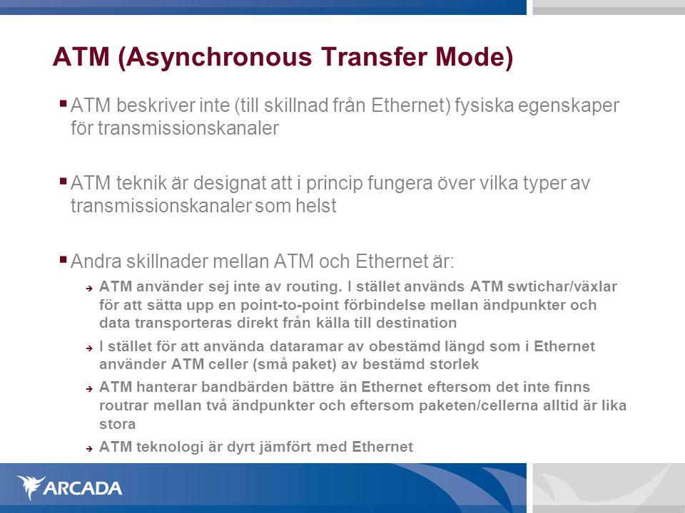 ATM (Asynchronous Transfer Mode)  ATM beskriver inte (till skillnad från Ethernet) fysiska egenskaper för transmissionskanaler  ATM teknik är designat att i princip fungera över vilka typer av transmissionskanaler som helst  Andra skillnader mellan ATM och Ethernet är:  ATM använder sej inte av routing.