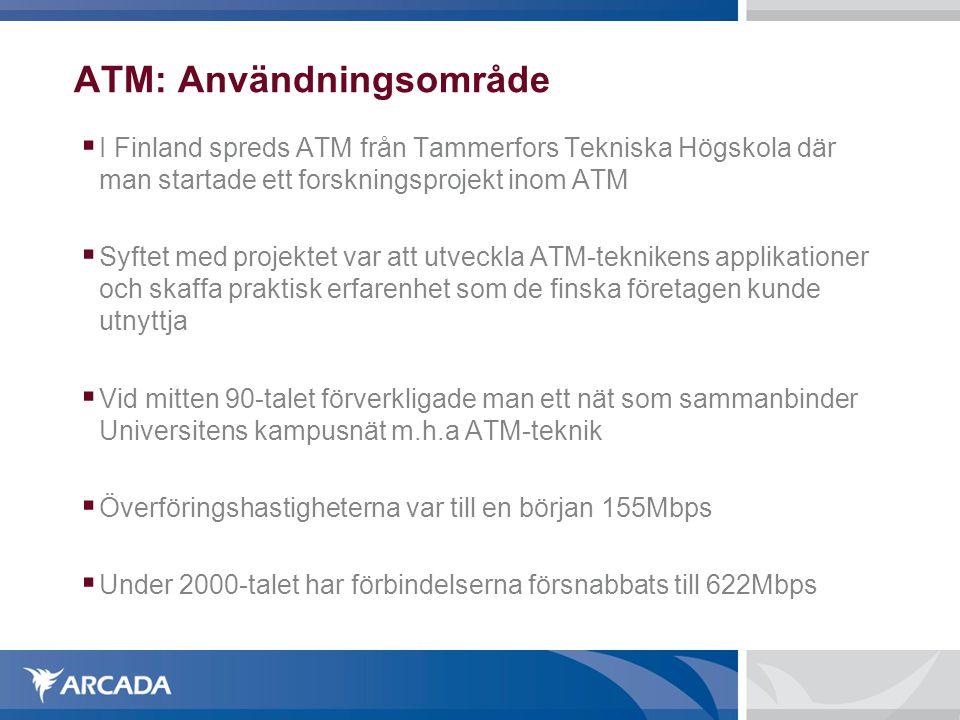ATM: Användningsområde  I Finland spreds ATM från Tammerfors Tekniska Högskola där man startade ett forskningsprojekt inom ATM  Syftet med projektet var att utveckla ATM-teknikens applikationer och skaffa praktisk erfarenhet som de finska företagen kunde utnyttja  Vid mitten 90-talet förverkligade man ett nät som sammanbinder Universitens kampusnät m.h.a ATM-teknik  Överföringshastigheterna var till en början 155Mbps  Under 2000-talet har förbindelserna försnabbats till 622Mbps