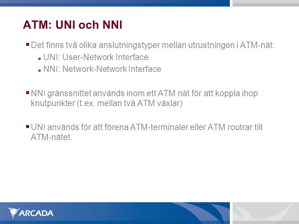 ATM: UNI och NNI  Det finns två olika anslutningstyper mellan utrustningen i ATM-nät:  UNI: User-Network Interface  NNI: Network-Network Interface  NNI gränssnittet används inom ett ATM nät för att koppla ihop knutpunkter (t.ex.