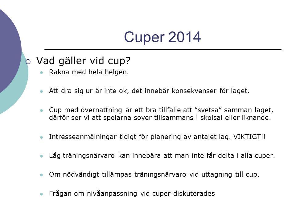 Cuper 2014  Vad gäller vid cup? Räkna med hela helgen. Att dra sig ur är inte ok, det innebär konsekvenser för laget. Cup med övernattning är ett bra