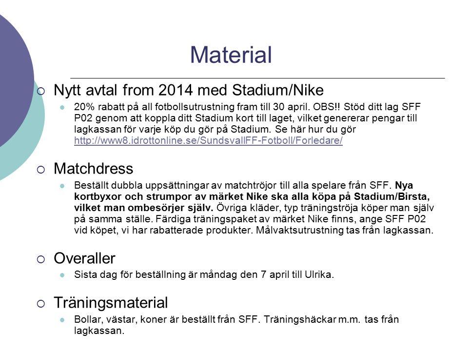 Material  Nytt avtal from 2014 med Stadium/Nike 20% rabatt på all fotbollsutrustning fram till 30 april. OBS!! Stöd ditt lag SFF P02 genom att koppla