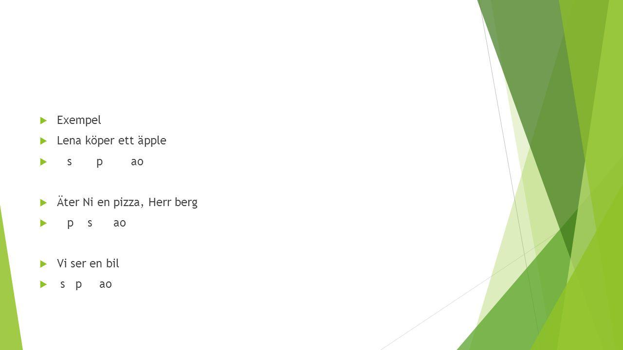  Exempel  Lena köper ett äpple  s p ao  Äter Ni en pizza, Herr berg  p s ao  Vi ser en bil  s p ao