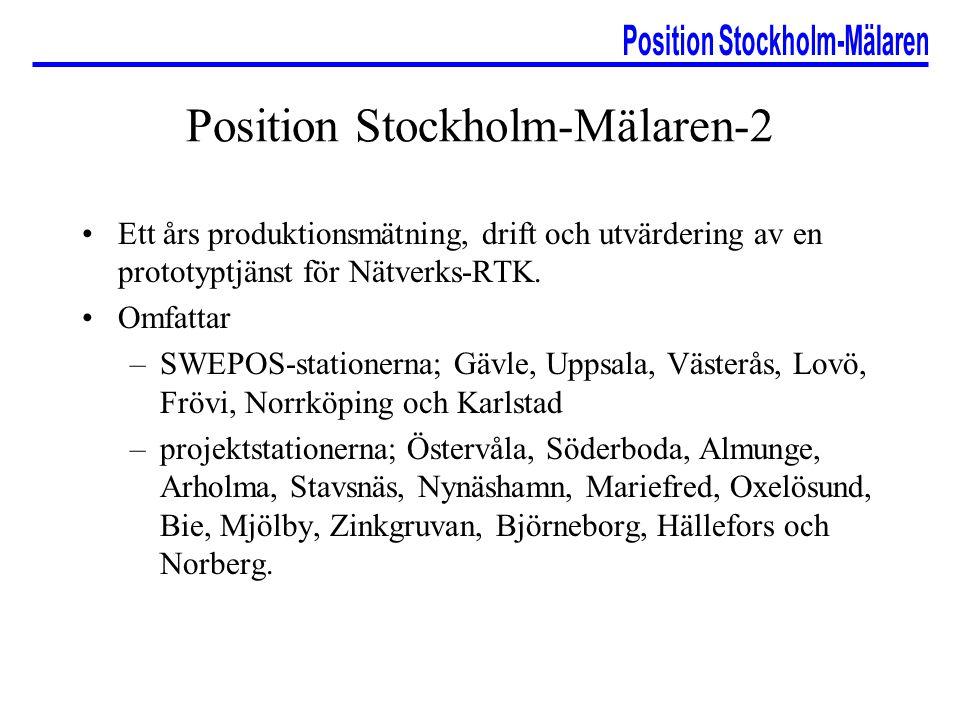 Position Stockholm-Mälaren-2 Ett års produktionsmätning, drift och utvärdering av en prototyptjänst för Nätverks-RTK. Omfattar –SWEPOS-stationerna; Gä