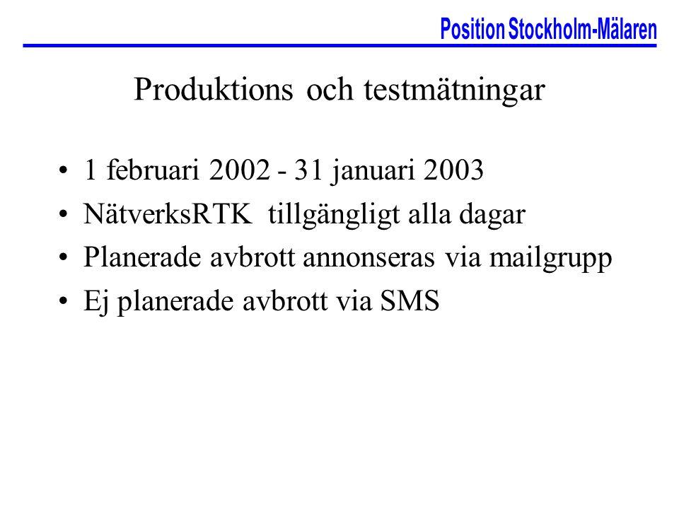 Produktions och testmätningar 1 februari 2002 - 31 januari 2003 NätverksRTK tillgängligt alla dagar Planerade avbrott annonseras via mailgrupp Ej plan