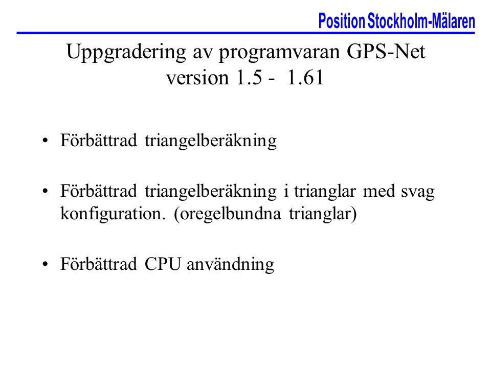 Uppgradering av programvaran GPS-Net version 1.5 - 1.61 Förbättrad triangelberäkning Förbättrad triangelberäkning i trianglar med svag konfiguration.
