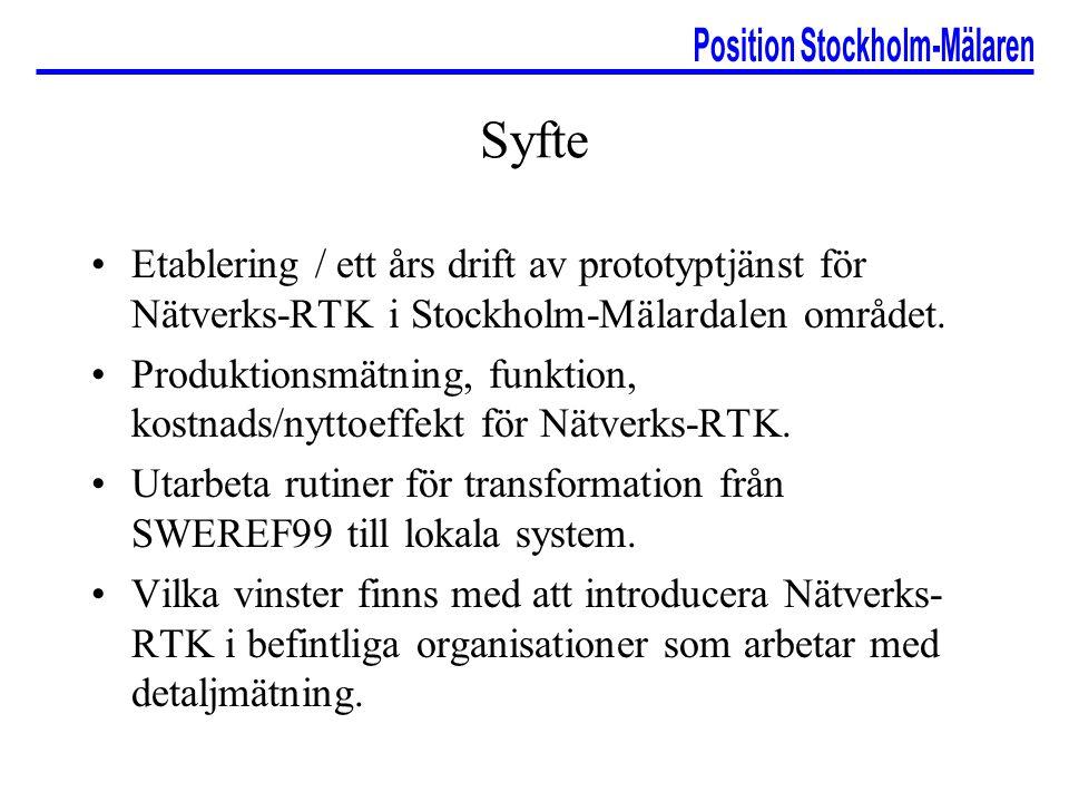 Syfte Etablering / ett års drift av prototyptjänst för Nätverks-RTK i Stockholm-Mälardalen området. Produktionsmätning, funktion, kostnads/nyttoeffekt