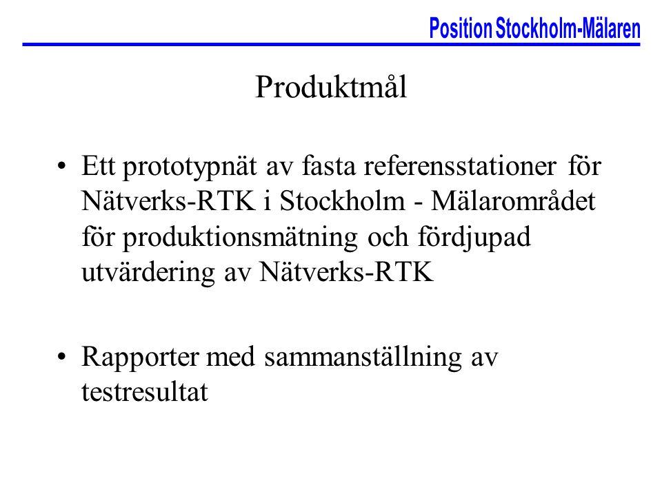 Produktmål Ett prototypnät av fasta referensstationer för Nätverks-RTK i Stockholm - Mälarområdet för produktionsmätning och fördjupad utvärdering av
