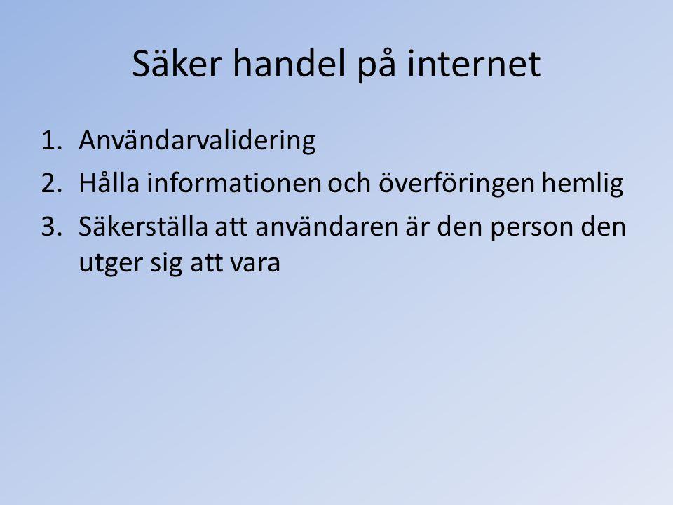 Säker handel på internet 1.Användarvalidering 2.Hålla informationen och överföringen hemlig 3.Säkerställa att användaren är den person den utger sig a