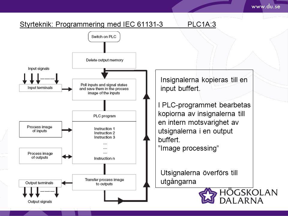 Styrteknik: Programmering med IEC 61131-3 PLC1A:4 Exempel med Ladder Diagram Instruktionerna utförs i ordning från den översta raden till den nedersta.