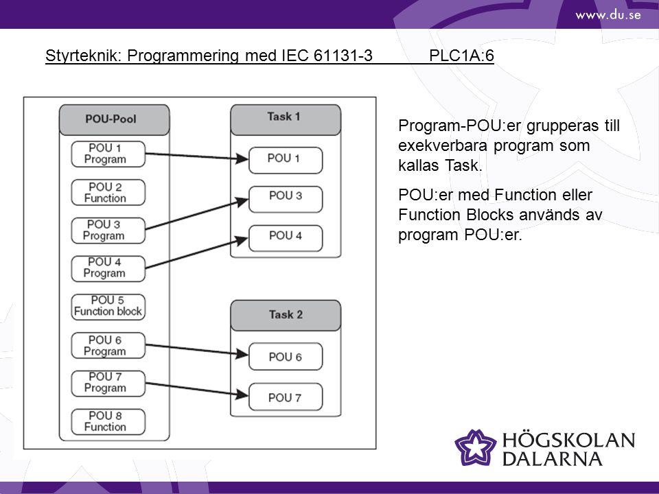 Styrteknik: Programmering med IEC 61131-3 PLC1A:7 Ett komplett PLC- program består av en eller flera tasks.