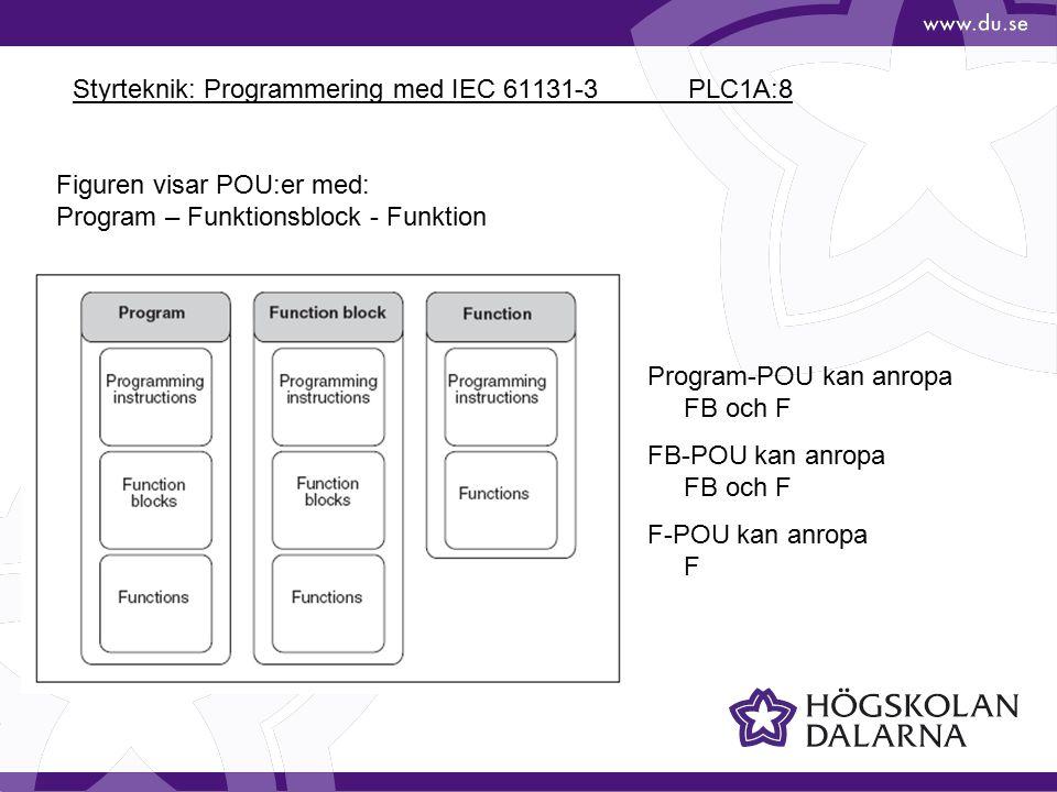 Styrteknik: Programmering med IEC 61131-3 PLC1A:9 Sekventiella PLC-program är mycket vanliga.
