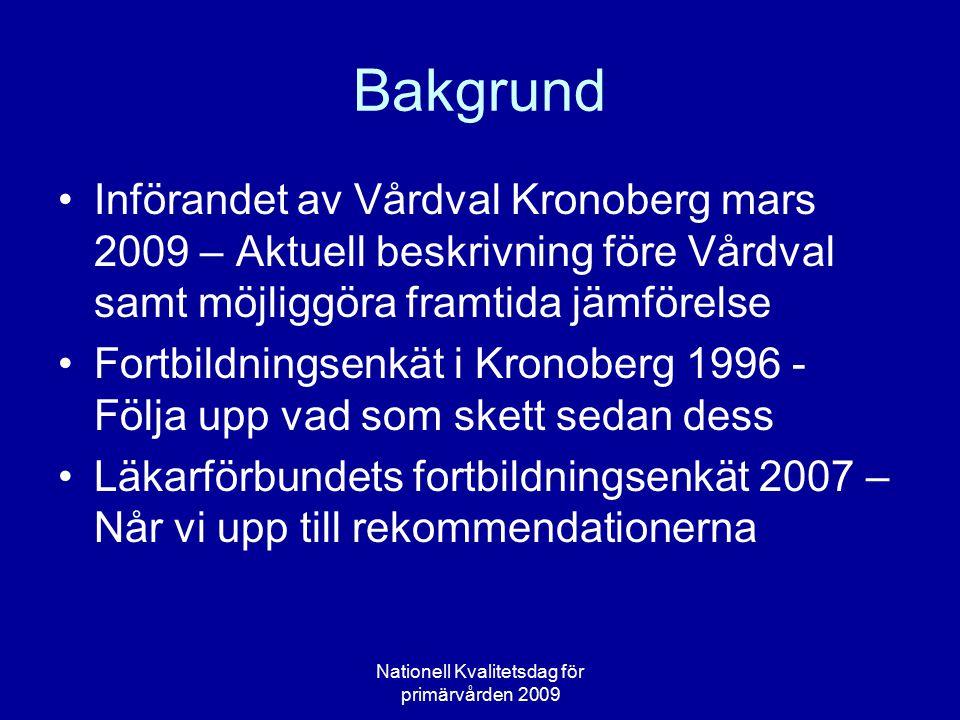Bakgrund Införandet av Vårdval Kronoberg mars 2009 – Aktuell beskrivning före Vårdval samt möjliggöra framtida jämförelse Fortbildningsenkät i Kronobe