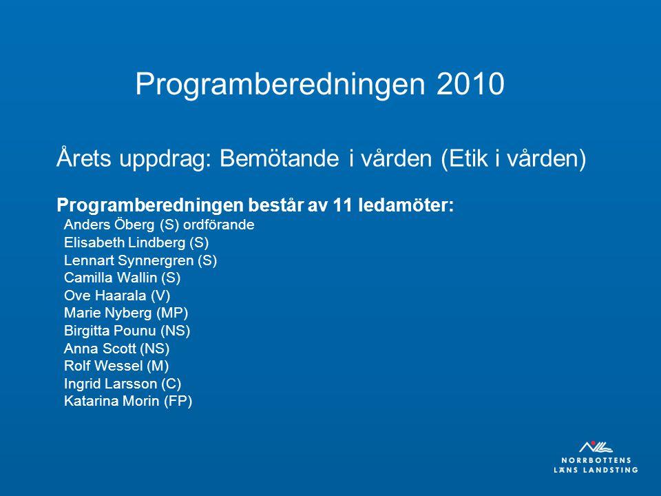 Programberedningen 2010 Årets uppdrag: Bemötande i vården (Etik i vården) Programberedningen består av 11 ledamöter: Anders Öberg (S) ordförande Elisabeth Lindberg (S) Lennart Synnergren (S) Camilla Wallin (S) Ove Haarala (V) Marie Nyberg (MP) Birgitta Pounu (NS) Anna Scott (NS) Rolf Wessel (M) Ingrid Larsson (C) Katarina Morin (FP)