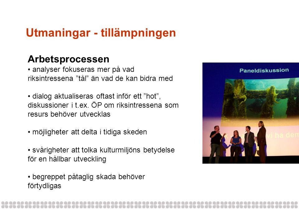 Utmaningar - tillämpningen Arbetsprocessen analyser fokuseras mer på vad riksintressena tål än vad de kan bidra med dialog aktualiseras oftast inför ett hot , diskussioner i t.ex.