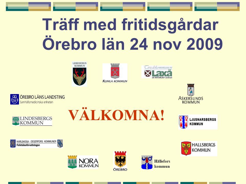 Träff med fritidsgårdar Örebro län 24 nov 2009 Hällefors kommun VÄLKOMNA!