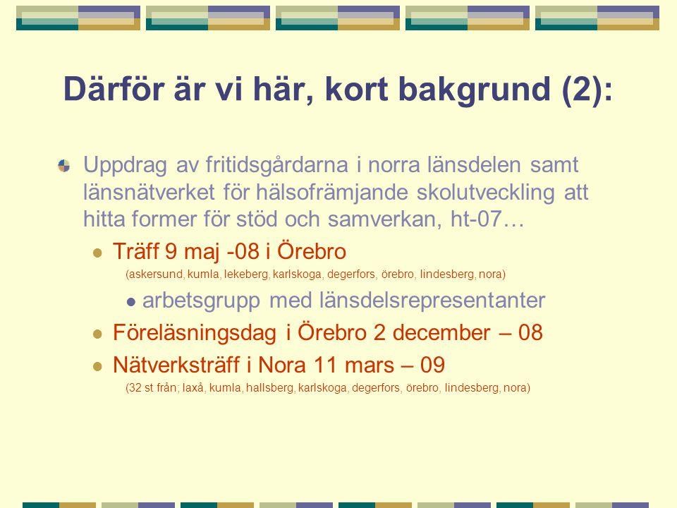 Därför är vi här, kort bakgrund (2): Uppdrag av fritidsgårdarna i norra länsdelen samt länsnätverket för hälsofrämjande skolutveckling att hitta former för stöd och samverkan, ht-07… Träff 9 maj -08 i Örebro (askersund, kumla, lekeberg, karlskoga, degerfors, örebro, lindesberg, nora) arbetsgrupp med länsdelsrepresentanter Föreläsningsdag i Örebro 2 december – 08 Nätverksträff i Nora 11 mars – 09 (32 st från; laxå, kumla, hallsberg, karlskoga, degerfors, örebro, lindesberg, nora)