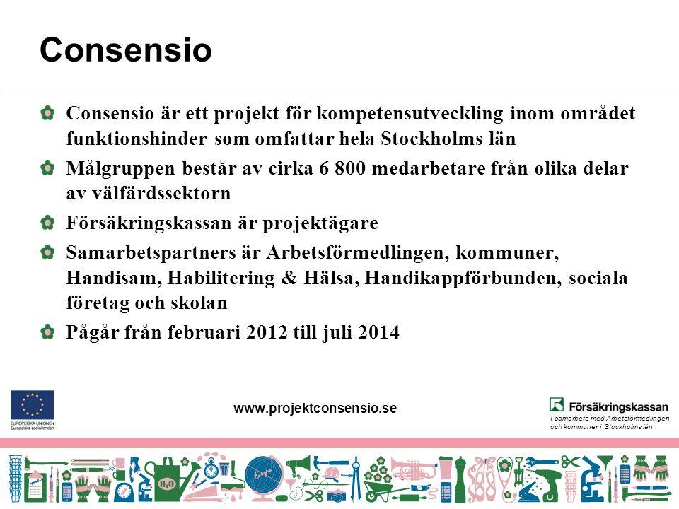 I samarbete med Arbetsförmedlingen och kommuner i Stockholms län Consensio Consensio är ett projekt för kompetensutveckling inom området funktionshinder som omfattar hela Stockholms län Målgruppen består av cirka 6 800 medarbetare från olika delar av välfärdssektorn Försäkringskassan är projektägare Samarbetspartners är Arbetsförmedlingen, kommuner, Handisam, Habilitering & Hälsa, Handikappförbunden, sociala företag och skolan Pågår från februari 2012 till juli 2014 www.projektconsensio.se