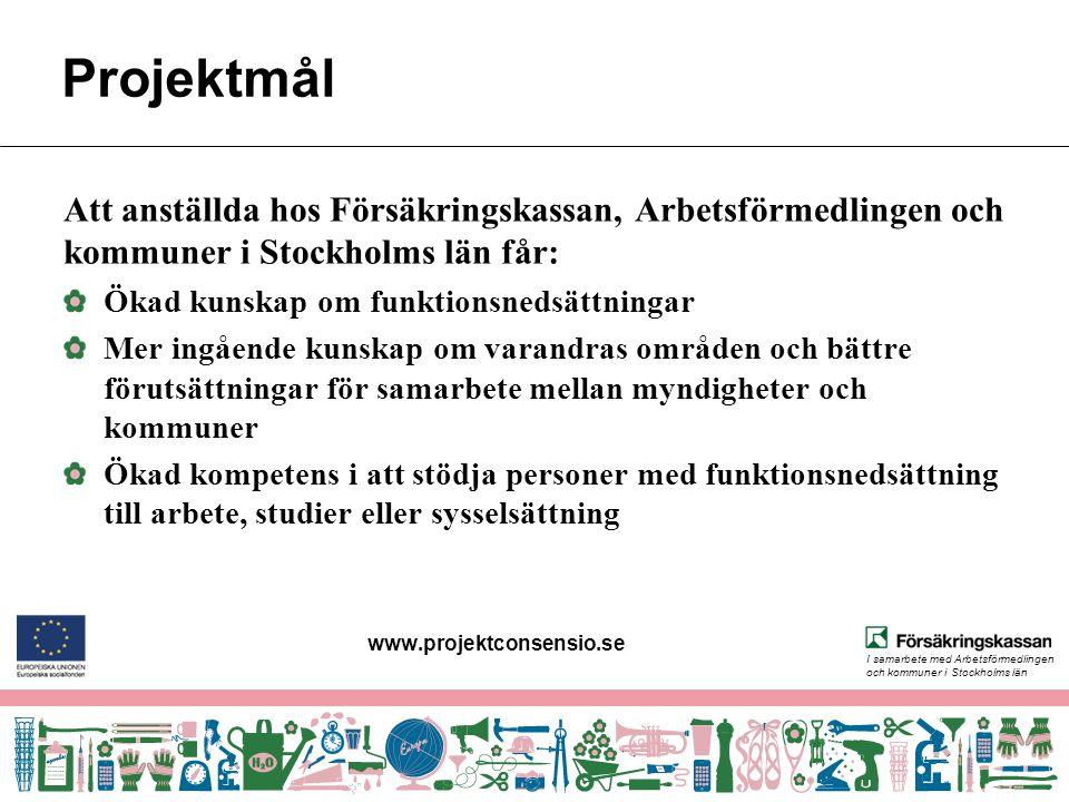 I samarbete med Arbetsförmedlingen och kommuner i Stockholms län Projektmål Att anställda hos Försäkringskassan, Arbetsförmedlingen och kommuner i Sto