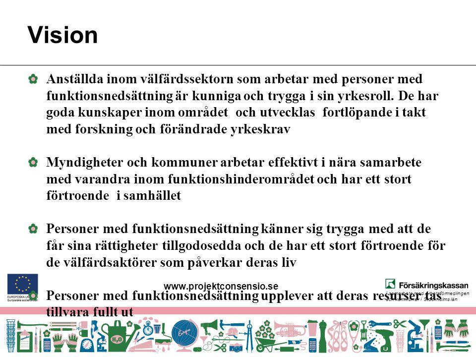 I samarbete med Arbetsförmedlingen och kommuner i Stockholms län Vision Anställda inom välfärdssektorn som arbetar med personer med funktionsnedsättni